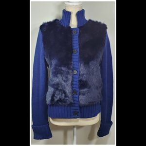 C Wonder Royal Blue Bomber Style Sweater